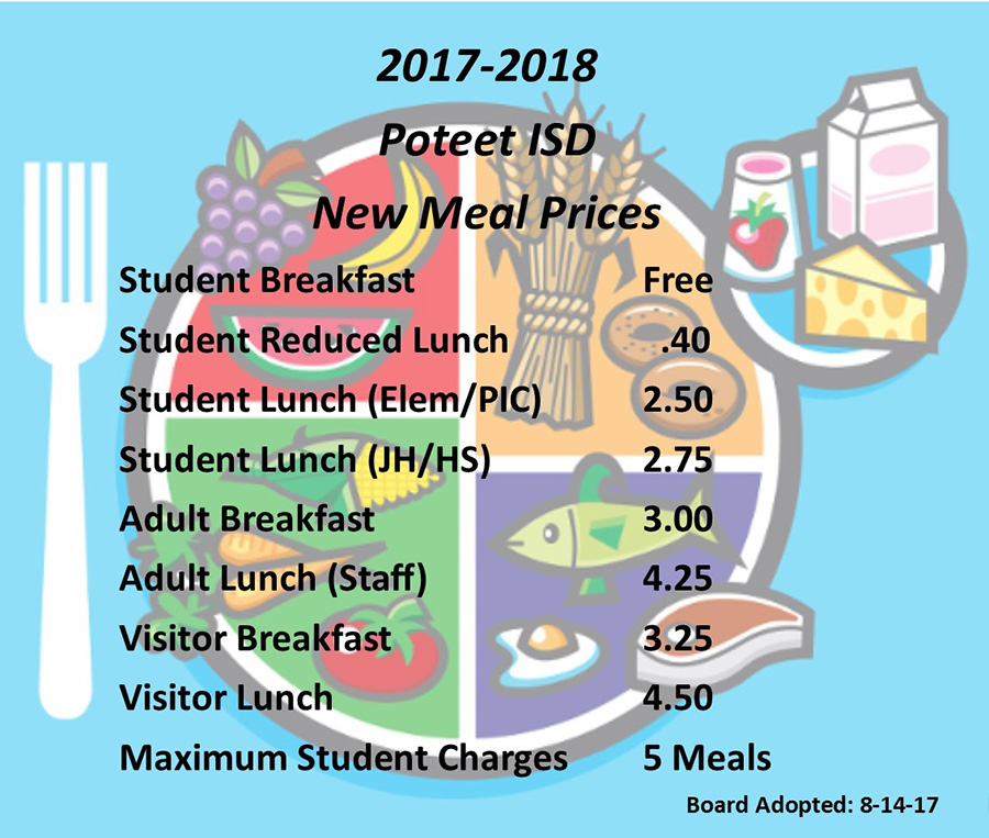Poteet ISD Meal Prices